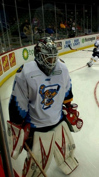 Cal Heeter sporting the 16-Bit style Toledo Walleye home jersey.
